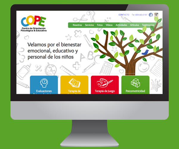 Diseño de página web paa centro educativo COPE en Wordpress